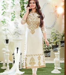 Buy White Embroidered Cotton semi stitched salwar with dupatta eid-special-salwar-kameez online