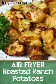 Air Fryer Roasted Ranch Potatoes - RecipeTeacher Recipes for You Airfryer Rezepte und Lebensmittel # Air Fryer Oven Recipes, Air Frier Recipes, Air Fryer Dinner Recipes, Air Fryer Recipes Potatoes, Air Fry Potatoes, Baked Potatoes, Roasted Ranch Potatoes, Seasoned Potatoes, Vegetarian