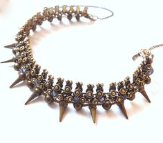 RESERVED for Vanessa-Rare Wire Wrapped Brass Choker Necklace-Unique Gemstone Necklace - OOAK Gothic Spike Neckpiece -
