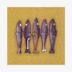 "Cinzia Mazzoni  rossocorallo art : ""5 sardine"""