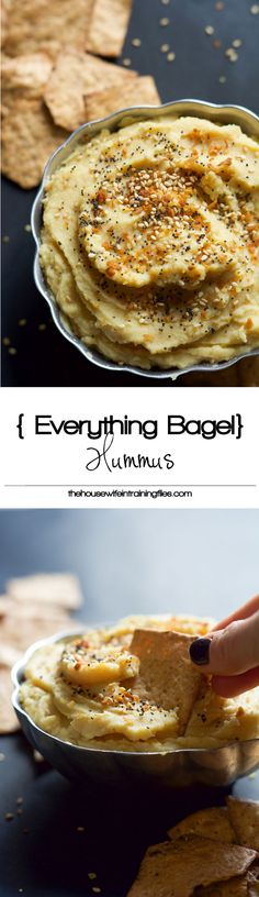 Everything Bagel Hummus has all the flavors you love of those classic bagels but in a healthy, gluten free form! Creamy chickpeas mixed with toasted garlic, dried onions then sprinkled with sesame seeds and poppy seeds! #glutenfree #healthy #hummus
