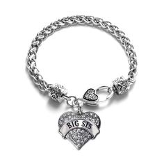 Big Sis Pave Heart Charm Bracelet