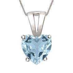 "7mm Aquamarine Solitaire Heart Pendant 18"" Chain 4 Prong In 14K White Gold Over #Diamondetc #SolitaireHeartPendant #ValentinesDay"