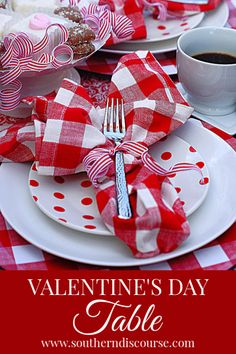 A casual Valentine table for coffee and dessert. Red gingham, polka dots and stripes keep this table easy, fun and romantic. My Funny Valentine, Valentines Day Food, Valentine Day Love, Valentine Day Crafts, Valentine Ideas, Valentine Recipes, Valentines Day Tablescapes, Valentines Day Decorations, Valentine Table Decor