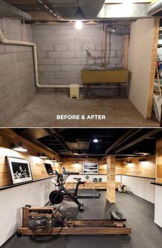 Home Gym Room Design Garage Best Ideas - Little Glass Jar Home. - Home Gym Basement Gym, Basement Makeover, Basement Renovations, Home Renovation, Home Remodeling, Basement Bathroom, Rustic Basement, Basement Ceilings, Unfinished Basement Ceiling