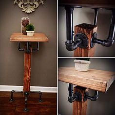 This simple design is a beautiful and unique solid wood beam and iron pipe table. Finished with a stain of your choice and black iron pipes. We have created the standard sizing for a pub table, but can easily adapt to be a side, entry or occasional table. Please contact us for your size