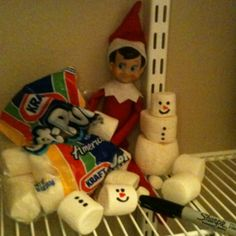 Cute Elf Idea - Our elf on the shelf, Wally, in the pantry building marshmallow snowmen. Crazy guy.