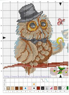 Owl bride and groom Cross Stitch Owl, Cross Stitch Borders, Cross Stitch Animals, Counted Cross Stitch Patterns, Cross Stitch Charts, Cross Stitch Designs, Cross Stitching, Cross Stitch Embroidery, Embroidery Patterns
