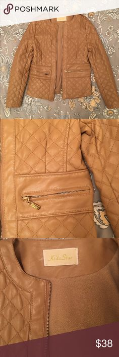 Girls Quilted Faux Leather Jacket European Brand Girls Faux Leather Jacket in beautiful neutral beige camel. For true little fashionistas, Chanel style quilts, but comfy fleece inside. It fits sizes 9-11 kids star Jackets & Coats