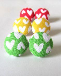 Valentine's day Mustard yellow stud earrings by KooKooCraft