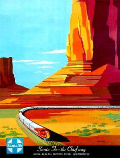 Santa Fe — The Chief Way: Using General Motors Diesel Locomotives, poster by artist Bern Hill, ca. 1950s