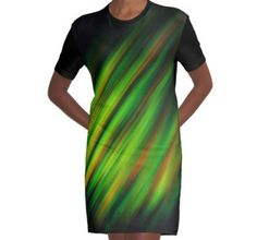 Colorful neon green brush strokes on dark gray Graphic T-Shirt Dress by #PLdesign #abstract #neon #green