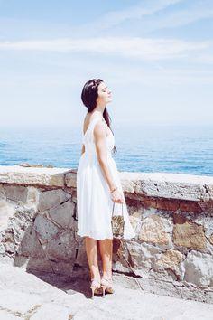 Greek inspired ivory midi dress with trim in silk chiffon and a-line HELIA Mykonos, Santorini, Silk Chiffon, Chiffon Dress, Resort Dresses, Civil Wedding, A Perfect Day, Prom Dresses, Wedding Dresses
