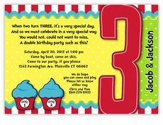 Thing 1 2 Dr Seuss Cupcakes Twins Third Birthday Invitation