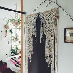 A new macrame' doorway. Adding ceremony to the every day. ----- This piece began in Haiti and was finished in Portland.