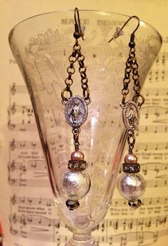 Vintage, Antique Style, OOAK, Religious Medallion, Earrings  on Etsy, $25.00