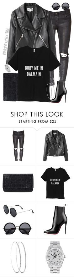 """Rockstar 101"" by highfashionfiles ❤ liked on Polyvore featuring Acne Studios, Judith Leiber, Balmain, The Row, Christian Louboutin, Rolex, women's clothing, women's fashion, women and female"