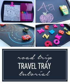 A cookie sheet, painted with chalkboard paint- make this for the kids for your family road trips!