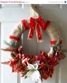 On SALE Winter Wreath Poinsettias Door Wreath by Hobby4Crafts
