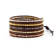 """This Month's Featured Designer - CHAN LUU. """"This signature Chan Luu wrap bracelet includes sections of polished plated nuggets hand woven throughout """"brown"""" colored leather. Easily-wearable, this wrap"""