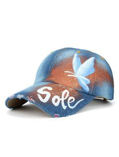 39bcc2f76b4 2018 New Denim Hand Painted Butterfly Baseball Cap Comfortable Adjustable  Sun Hat Fashion Outdoor Shade Hat For Women