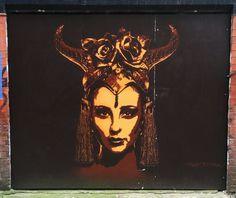 Street Art Manchester. Wonderful portrait by TankPetrol. Spear Street, Manchester, UK. Taken February 2015.