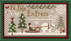 North Pole Express is the title of this free cross stitch pattern from Little House Needleworks when you purchase the 5 skeins of Classic Colorworks that are included with the pattern.  Follow this link to add the fabric to your shopping cart (select 1/8th yard).
