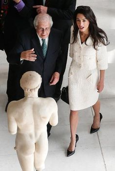 Defending her client Greece, Amal Clooney is guided by the president of the Acropolis museum Dimitris Pantermalis. She is part of a team advising the government on the return of the Parthenon Marbles to the country. Chanel definitely helps when it comes to winning cases.