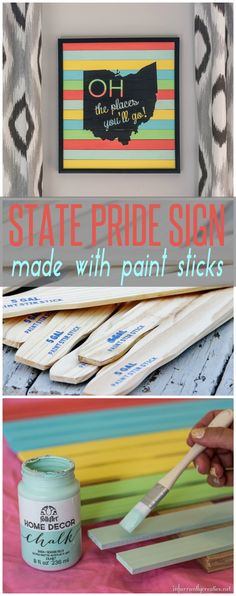 Create a state pride sign with paint sticks // paint stick projects from Beckie Farrant // Simple DIY // Re-purpsoe // Home Dec // Ohio State