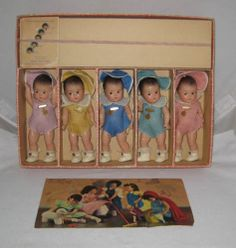 1930's Madame Alexander Dionne Quintuplets Set NMIB with Tagged outfits Rare !