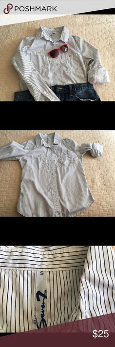 Seven7 shirt White with black stripes, long sleeve shirt, with metal buttons. Perfect to wear with jeans or shorts. Like new! Seven7 Tops Button Down Shirts