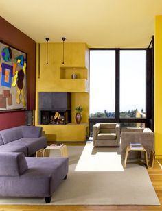 Combination of yellow and burgundy walls