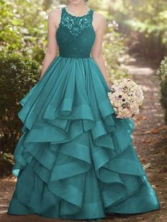 Ball Gown Green Round Neck Lace Tulle Long Ruffles Prom Dress – Sassymyprom #promdress#promdress2019#promdresscheap#promdresssrping#promdresssummer#promdressstore#promdressproduct#kemedress#promdresstoday#promdressunder100#promdressdiscount Gray Formal Dress, Formal Evening Dresses, Evening Gowns, Caftan Dress, Lace Dress, Dress Skirt, Event Dresses, Dream Dress, Homecoming Dresses