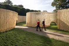 FABRIC designs and installs a prefab, wooden temporary pavilion in the castle gardens in Copenhagen that gives the illusion of movement.