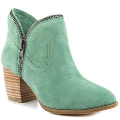 mint boots with zipper detailing