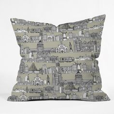 Sharon Turner San Francisco Linen Throw Pillow #sanfrancisco #america #deny #pillow #city
