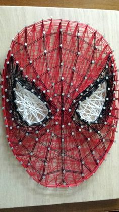 Spiderman String art for my nephew. String Wall Art, Nail String Art, String Crafts, Diy Wall Art, Crafts To Do, Hobbies And Crafts, Arts And Crafts, Arte Linear, String Art Patterns