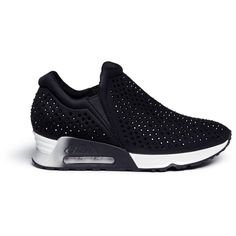 d7d80f41d6ef7 Ash  Lifting  hotfix crystal neoprene sneakers featuring polyvore women s  fashion shoes sneakers black ash shoes sports trainer ash sneakers ash  trainers ...