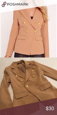 Tan MissGuided Military Style Blazer Long Sleeve Tan MissGuided Military Style Blazer Missguided Jackets & Coats Blazers