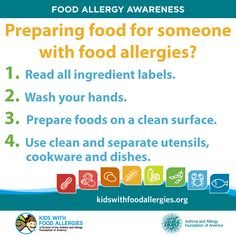 Tips to prepare food for someone with food allergies.