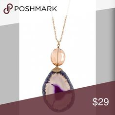 """Agate Amethyst Swirl Pendant Necklace! Elongated Agate Stone Pendant Necklace Approx Length:28"""" Extension: 3"""" Color and Shape Stone May Vary Lead and Nickel Compliant Product in Amethyst Jewelry Necklaces"""
