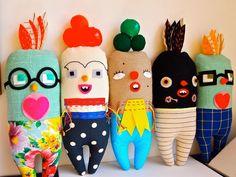 Bird Art doll, soft sculpture, fabric, cloth, textile, carnival, circus, Apple Birdy.