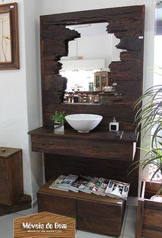 Balcão e moldura de espelho para lavabo ou banheiro de madeira de demolição - http://moveisdobem.com