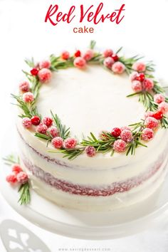 christmas cake Classic Red Velvet Cake with a delicious tang from the buttermilk, hints of cocoa and a moist, light crumb. And lets not forget the best cream cheese icing on this earth! Christmas Cake Designs, Christmas Cake Pops, Christmas Cake Decorations, Holiday Cakes, Holiday Baking, Christmas Desserts, Holiday Decor, Red Velvet Cake Rezept, Best Red Velvet Cake