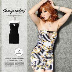 [change clothes]チェーン柄&ブラックミニドレス 2 Colours, Strapless Dress, Color, Dresses, Fashion, Strapless Gown, Vestidos, Moda, Colour
