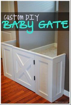 Custom DIY baby gate- this would work going to the basement Tara! Good tutorial.
