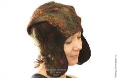 """Купить Шапка-ушанка """"Осень"""" - коричневый, шапка-ушанка, ушанка, зимняя шапка, шапка женская"""