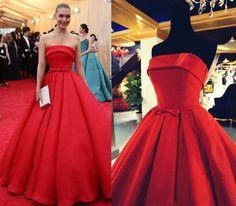 Red Strapless Elegant Celebrities Dresses Red Carpet Long Dresses Robe Celebrity Tapis Rouge Rouge 2015