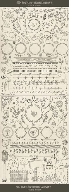 "Over 300 ""Woodland Whimsy"" Hand Drawn Vector Design Elements! Flourishes, curls, corners, borders, wreaths, leaves, flowers, mushrooms, birds, bugs, hearts, stars, feathers, arrows, and so much more. 5,000 Scrapbook Titles & Quotes, including words, sayings, phrases, captions, & idea's."