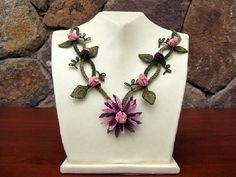 pink necklace,crochet necklace, fushi pink,floral necklace,dusty rose, cherry blossom pink,plum,bib,flower,bridal,statement,necklace,choker